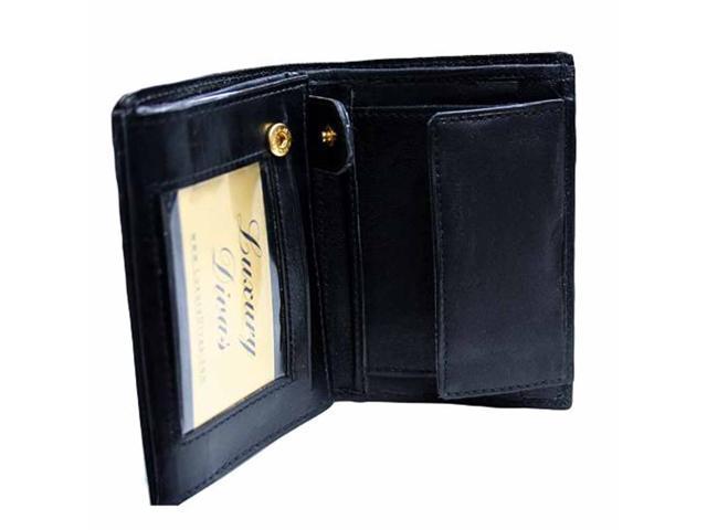 Men's Black Leather European Snap Closing Coin Wallet