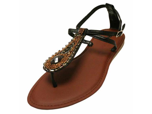 Black Thong Strap Flat Sandal With Ornate Gem Front