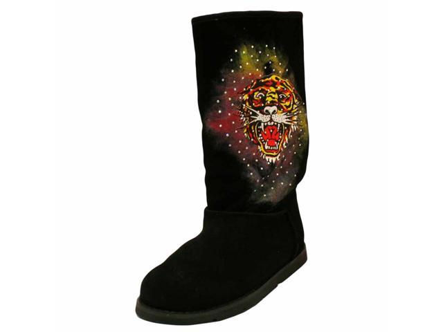 Ed Hardy Black Suede Tiger Bootstrap Women's Boots