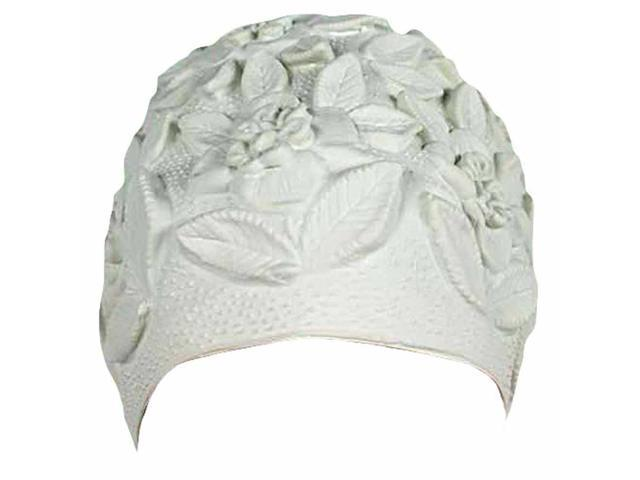 White Floral Embossed Latex Swim Bathing Cap