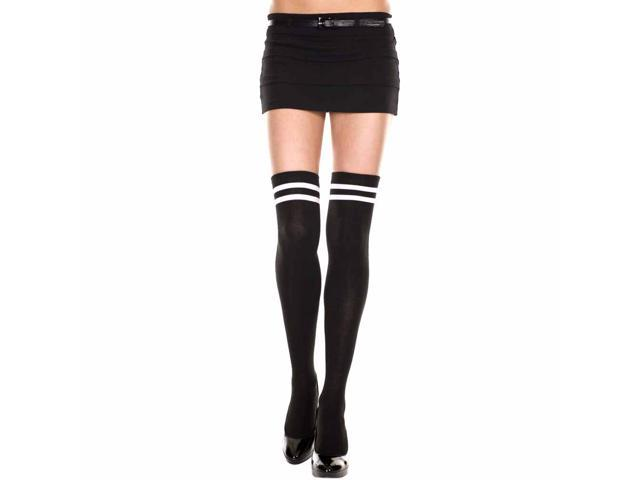 Black Thigh High Socks With Double Stripe Top