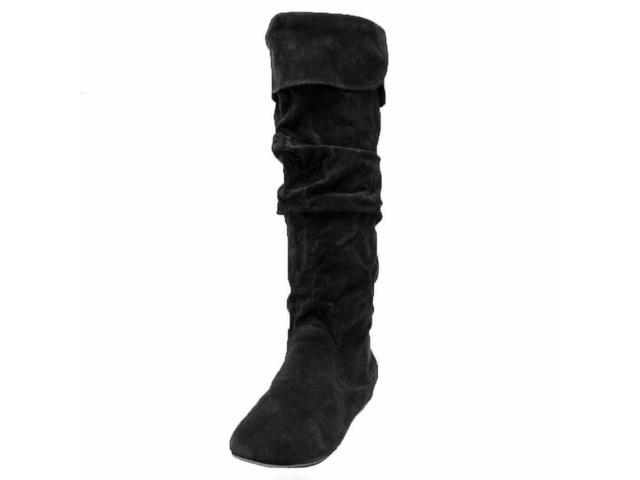 Solid Black Tall Suede Style Ruched Flat Boots
