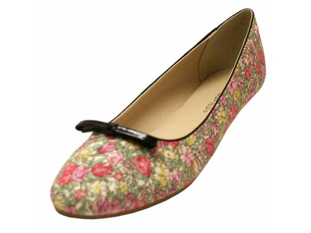 Pink & Green Floral Print Oxford Style Ballet Flats