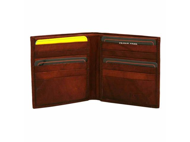 Burgundy Leather Men's Wide Classic Bifold Wallet