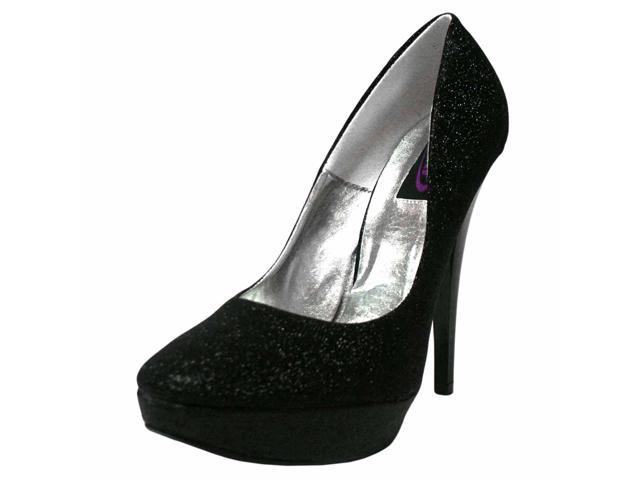 Black Glitter Platform High Heel Pumps