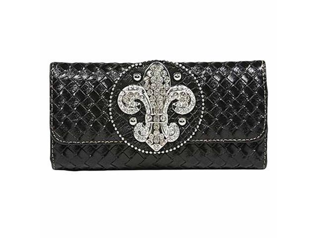 Black Weaved Design Long Wallet With Fleur De Lis