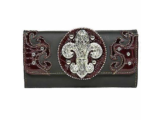 Black & Brown Rhinestone Fleur De Lis Wallet
