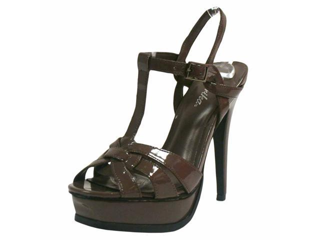 Taupe Strappy Patent Leather Platform Sandal Pumps