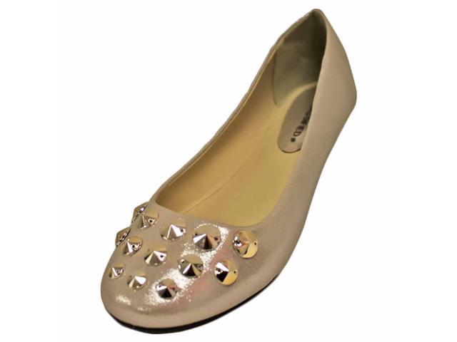 Silver Shimmer Slip-On Ballet Style Flats With Silver Studded Toe