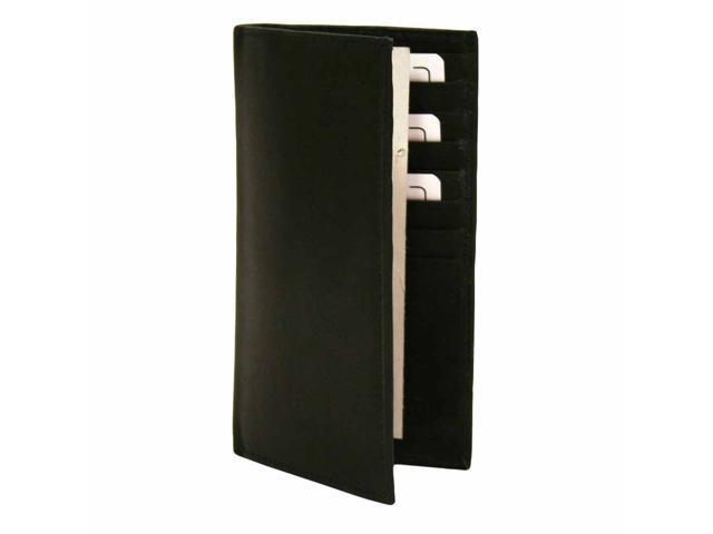 Black Leather Men's Long Checkbook Holder Wallet