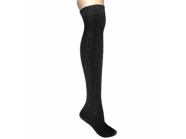 Black Cable Knit Thigh High Over The Knee Socks