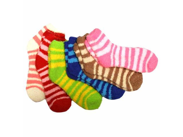 Thin Striped Assorted Multicolor 6 Pack Fuzzy Socks