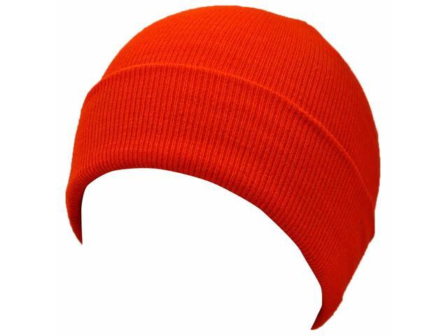 Neon Orange Knit Toboggan Beanie Skull Cap Hat