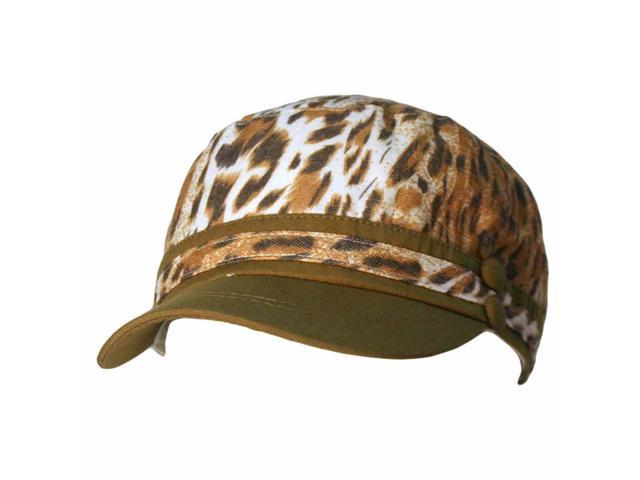 Green Leopard Print Military Cap Hat