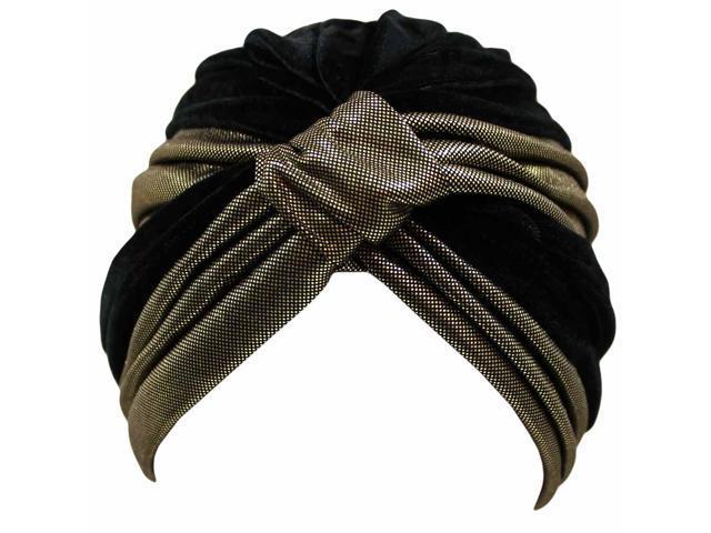 Black & Gold Velvet Turban Cap Hat