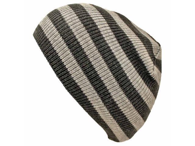 Black & Grey Striped Slouchy Knit Beanie Cap Hat