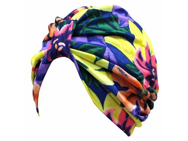 Blue Purple Yellow Multicolor Print Turban Cap Hat