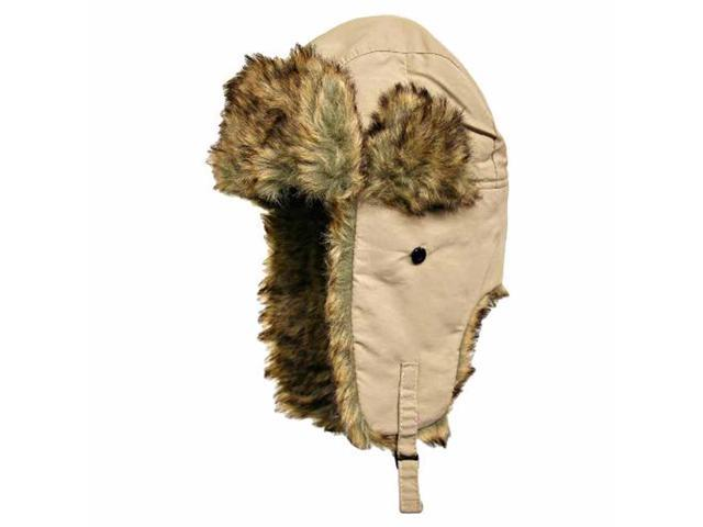 Beige Aviator Trooper Cap Hat With Faux Fur Trim