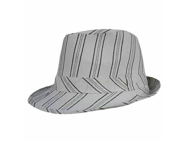 White Linen Pinstripe Structured Fedora Hat