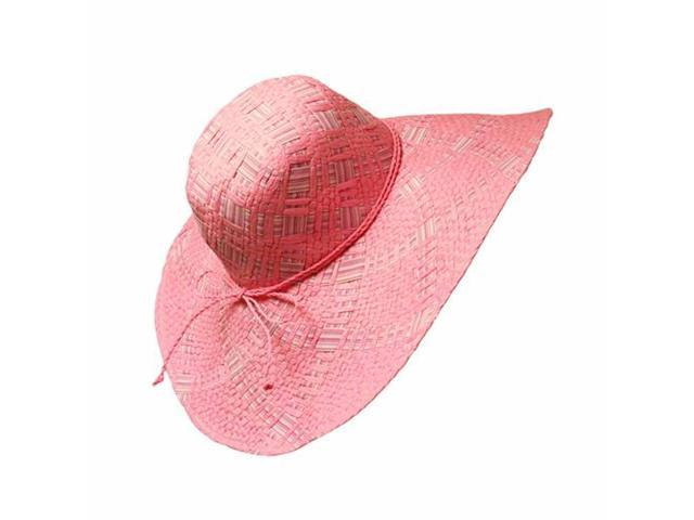 Pink Weaved Wide Brim Straw Floppy Hat