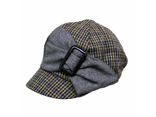 Beige Grey & Blue Plaid Newsboy Cap Hat