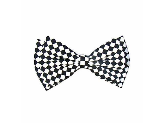 Black White Check Pre-Tied Men's Bow Tie