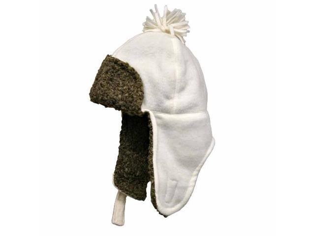 Ivory Fleece Trooper Aviator Hat With Ear Flaps
