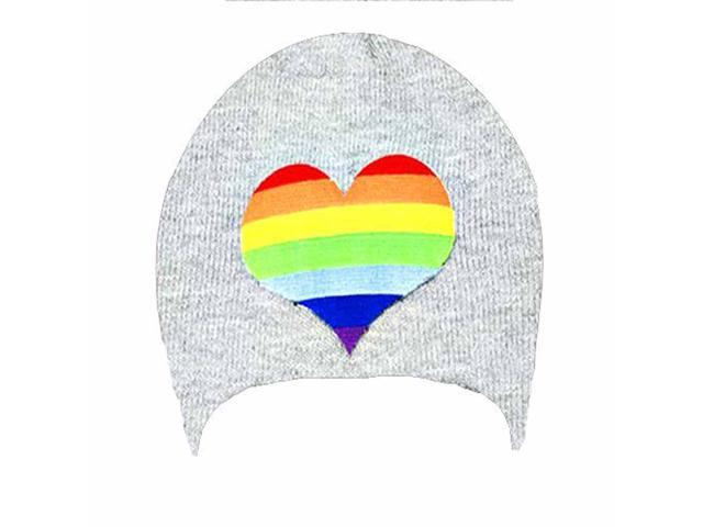 Gray Tight Knit Beanie Cap With Rainbow Striped Heart