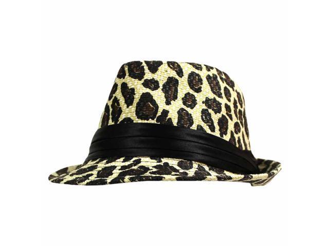 Leopard Print Light Straw Fedora Hat