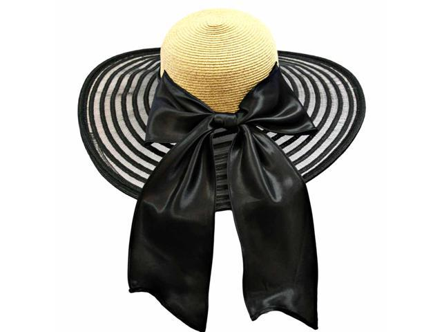 Wheat & Black Wide Brim Pattern Floppy Hat Large With Satin Bow