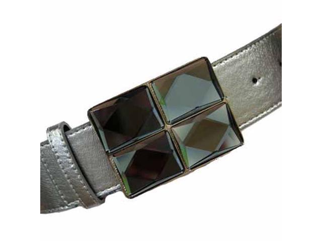 Dark Silver Multi Square Big Gemstone Buckle Belt