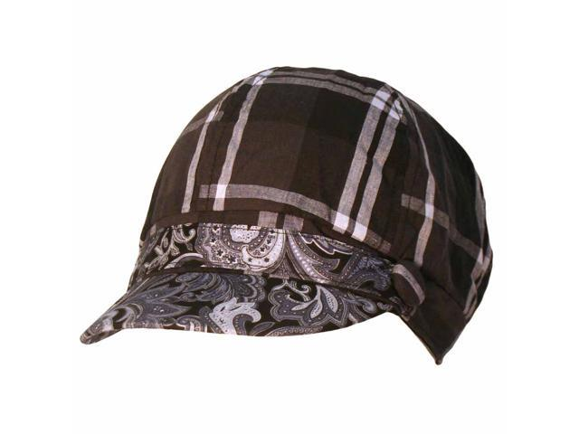 Black & White Plaid Paisley Print Newsboy Jockey Cap