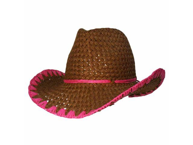 Brown Cowboy Hat With Whipstitch Edging