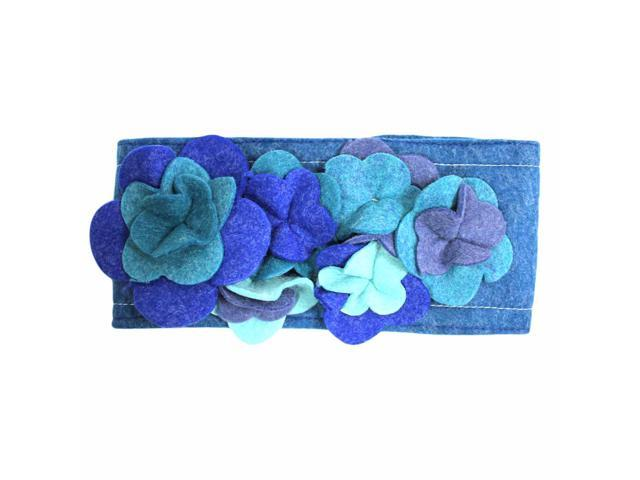 Blue Wool Headband With Floral Design