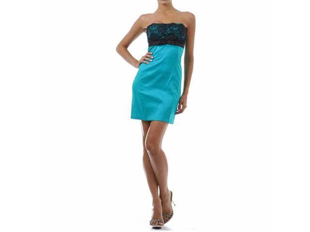 Turquoise Strapless Lace Top Cocktail Dress