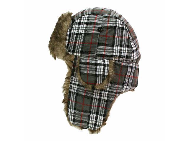 Gray Plaid Faux Fur Lined Trooper Aviator Cap Hat