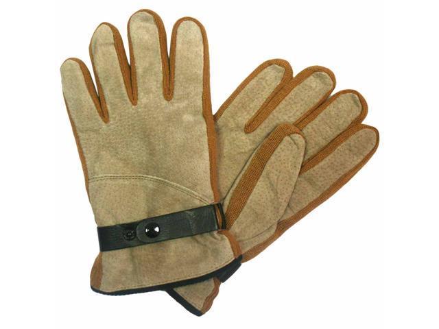 Two-Tone Tan Men's Suede Warm Winter Gloves