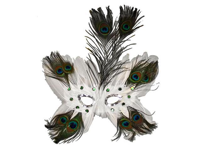 White Butterfly Peacock Masquerade Feather Mask