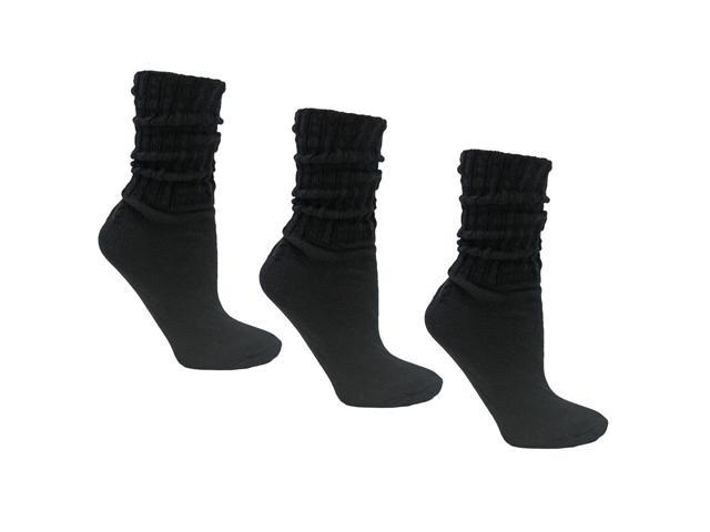 Black All Cotton 3 Pack Heavy Slouch Socks