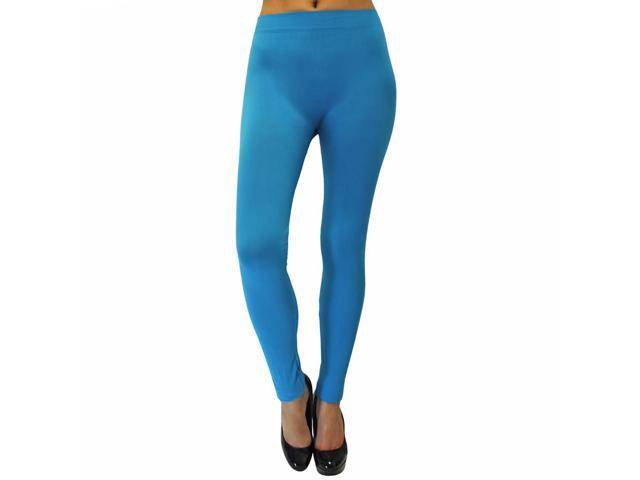 Solid Turquoise Blue Full Length Footless Stretch Tights
