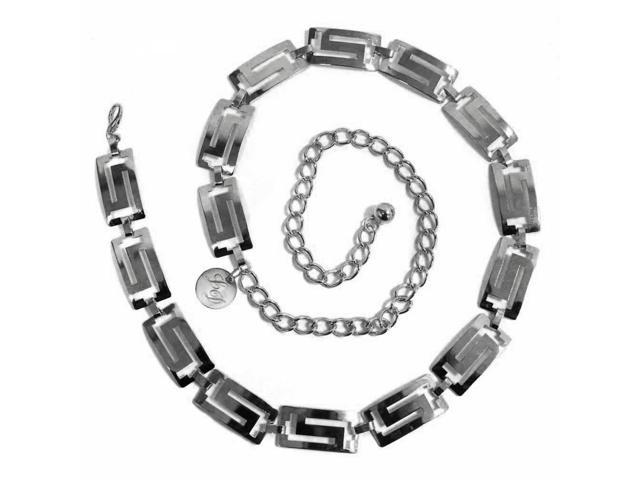 Silver Finish Classic Greek Key Chain Link Belt
