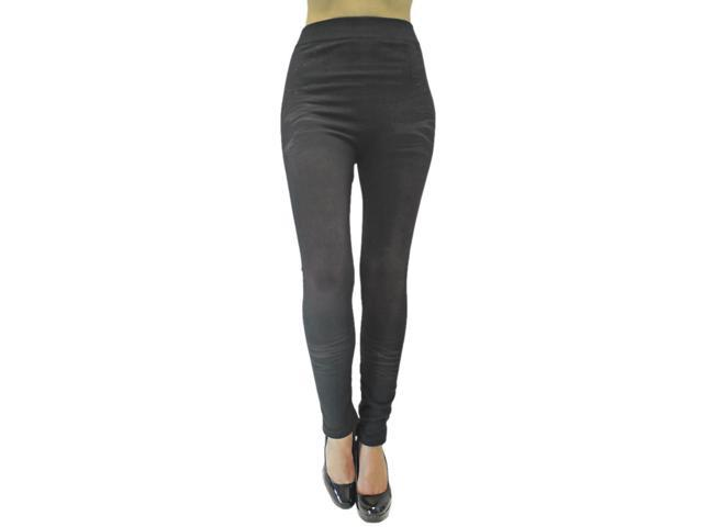 Black Distressed Stretchy Legging Footless Tights
