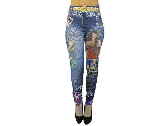 Blue Fragile Rose Multicolor Graffiti Print Footless Legging Tights