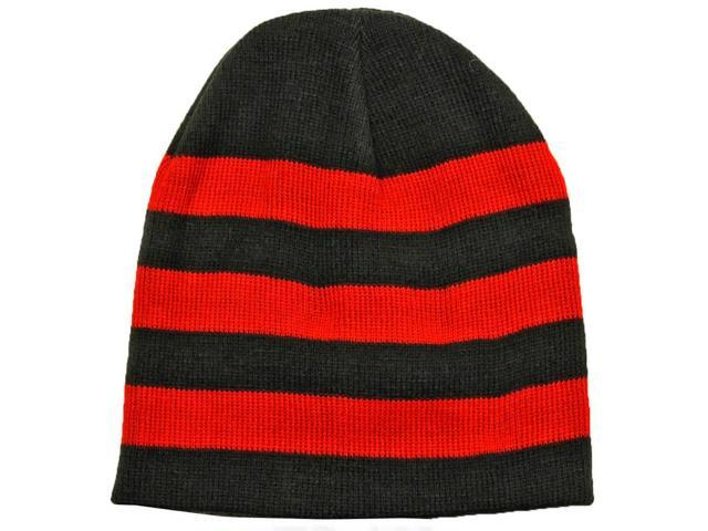 Black & Red Tight Fitting Striped Knit Beanie