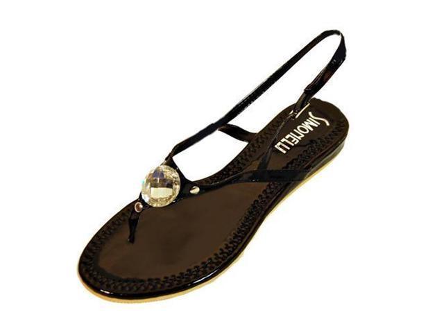Black Sling Back Sandal With Big Gem Shoe Size 11