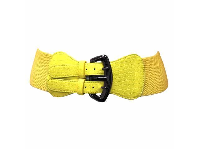yellow wide crocodile cinch belt with buckle