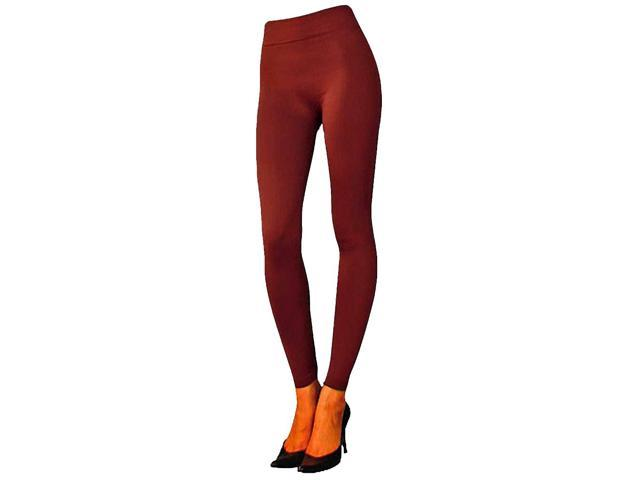 Burgundy Seamless Footless Stretchy Fleece Lined Leggings Tights