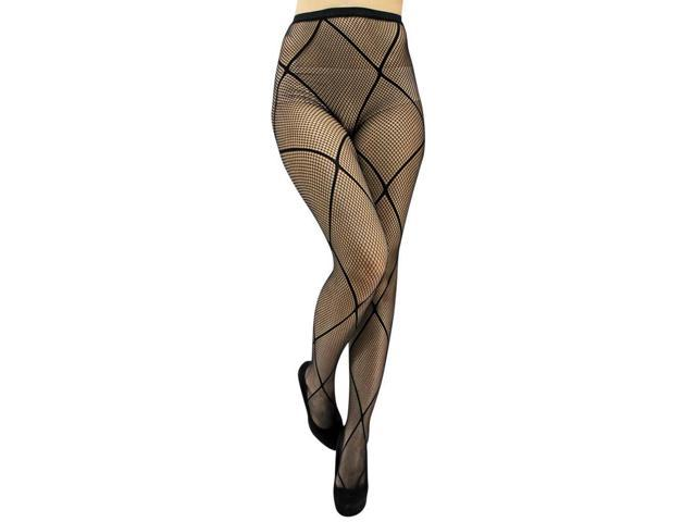 Ribbon Like Black Fishnet Tights