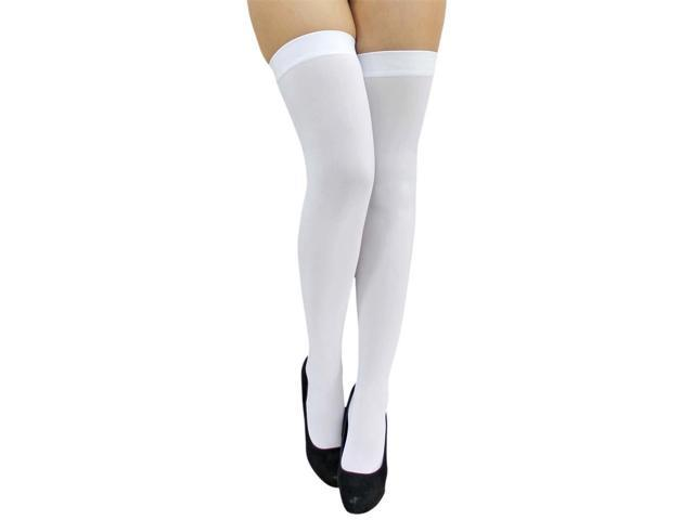 All White Opaque Thigh High Stockings