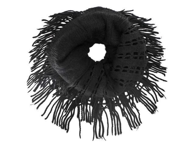 Black Wispy Fringe Knit Infinity Scarf